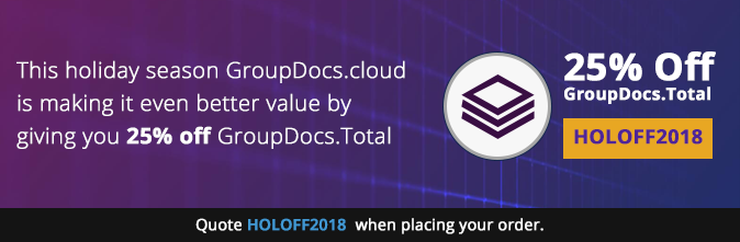 Get 25% off GroupDocs.Total Cloud APIs